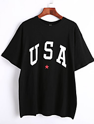 Women's Casual/Daily Cute Summer T-shirt,Letter Crew Neck ½ Length Sleeve White / Black Cotton Thin