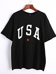 Damen Buchstabe Niedlich Lässig/Alltäglich T-shirt,Rundhalsausschnitt Sommer ½ Länge Ärmel Weiß / Schwarz Baumwolle Dünn