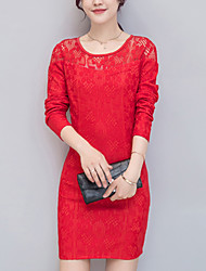 Women's Slim chic Bodycon / Lace DressEmbroidered Round Neck Mini Long Sleeve Pink / Red / White / Black Polyester FallMid