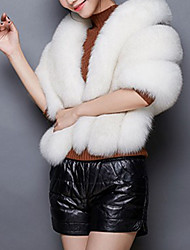 Women's Casual/Daily Simple Cloak/Capes,Solid Cowl Sleeveless Winter Pink / White / Gray Faux Fur Thick