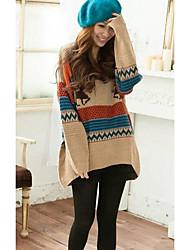 Damen Standard Pullover-Lässig/Alltäglich Einfach Geometrisch Blau Braun Orange Gelb Rundhalsausschnitt Langarm Kunst-Pelz Frühling Herbst