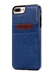 Для Бумажник для карт / Защита от удара Кейс для Задняя крышка Кейс для Один цвет Мягкий Искусственная кожа для AppleiPhone 7 Plus /