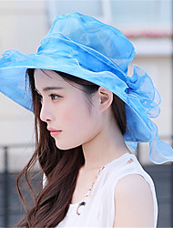 Women Spring Summer Foldable Shade Blue Lace Tourism Beach Flowers Big Brimmed Hat