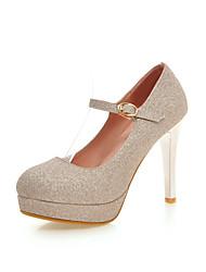 Damen-High Heels-Büro Kleid Lässig Party & Festivität-Kunstleder-Stöckelabsatz-Komfort-Blau Lila Silber Gold
