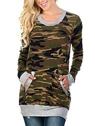 Damen camuflaje Einfach / Street Schick Ausgehen / Lässig/Alltäglich T-shirt,Rundhalsausschnitt Alle Saisons Langarm Schwarz / Grau