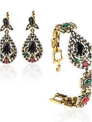 Boho India Jewelry 2Pcs/Sets Plated Ancient Bronze Mosaic Rhinestone Hollow Out Carved Vintage Statement Bracelets Earrings SetT2-0002