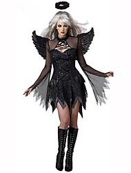 Conte de Fée Ange et Diable Fête / Célébration Déguisement d'Halloween Noir Imprimé Robe Ailes CoiffureHalloween Noël Carnaval Le Jour