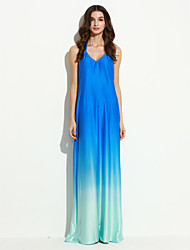 Women's Party Sexy Loose Dress,Solid Halter Maxi Sleeveless Blue Polyester Summer