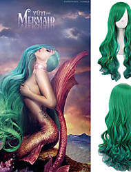 Yuyi the Mermaid Cosoplay Wig Green Long Body Wave Fashion Hairstyle Celebrity Lady Gaga Wear's Hair Heat Resistant Daily Wig