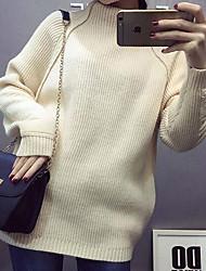 Damen Lang Pullover-Lässig/Alltäglich Einfach Solide Beige Rollkragen ¾-Arm Polyester Herbst Winter Mittel Mikro-elastisch