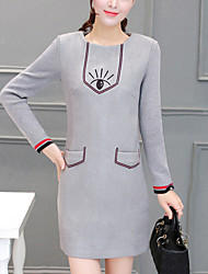 Women's Slim Elegant chic A Line DressEmbroidered Round Neck Mini Long Sleeve Gray Cotton / Polyester Spring Mid Rise Micro-elastic