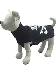 Dog Sweater Dog Clothes Halloween Skulls Black