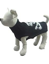 Dog Sweater Black Dog Clothes Winter Skulls Halloween