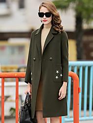 Damen Solide Einfach Lässig/Alltäglich Mantel,Winter V-Ausschnitt Langarm Grün Mittel Wolle / Polyester