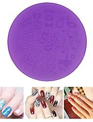 1pcs Purple Plastic Nail Art Stamping Plates 7cm  Stencil Manicure Pedicure Nail Template Tools