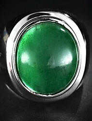 Ring Jade Party Jewelry Sterling Silver Men Ring 1pc,One Size Green
