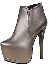Damen-Stiefel-Lässig-PU-Stöckelabsatz-Others-Schwarz / Silber