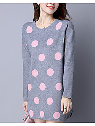 Women's Plus Size / Casual/Daily Simple Sweater Dress,Solid Round Neck Knee-length Long Sleeve Pink / Black / Gray / Green Cotton / Rayon
