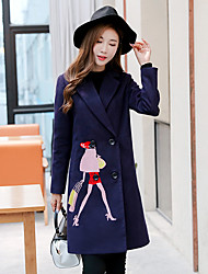 Women's Casual/Daily Vintage Coat,Solid V Neck Long Sleeve Winter Pink / Red / Purple Wool