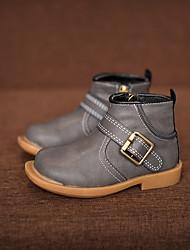 Jungen-Stiefel-Lässig-Leder-Flacher Absatz-Komfort-Schwarz Grün Grau