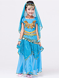 Shall We Belly Dance Outfits Children Chiffon Waist Belt Skirt Bracelets