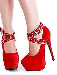 Feminino-Saltos-Plataforma / Sapatos com Bolsa Combinando-Salto Agulha-Preto-Courino-Casual / Festas & Noite