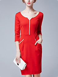 Women's Elegant chic Loose DressSolid V Neck Knee-length  Sleeve Red / Black Polyester Fall Mid Rise Micro-elastic Medium