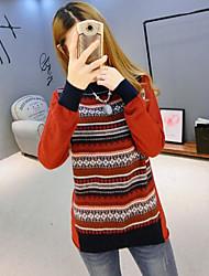 Damen Standard Pullover-Ausgehen Einfach Gestreift Orange Rundhalsausschnitt Langarm Polyester Frühling Mittel Mikro-elastisch