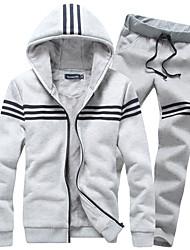 Activewear Set Hommes Grandes Tailles Décontracté / Quotidien / SportifCouleur Pleine Col Arrondi Non Elastique Coton Manches Longues