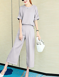 Women's Casual/Daily Simple All Seasons Set Pant Suits,Solid Round Neck Short Sleeve Pink / Gray Polyester Medium
