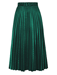 Women's One Size Solid Color Velvet Pleated Skirts