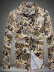Men's Casual/Daily / Work Simple / Active Spring Shirt,Print Shirt Collar Long Sleeve Yellow Cotton Medium