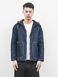Men's Going out Simple Jackets,Solid Long Sleeve Blue Cotton