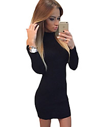 Women's Mock Neck Cold Shoulder Knit Long Sleeve Dress