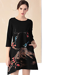 YZXH  Women's Casual/Daily Simple Sheath DressFloral Round Neck Above Knee  Sleeve Blue Cotton / Polyester Fall / Winter High Rise