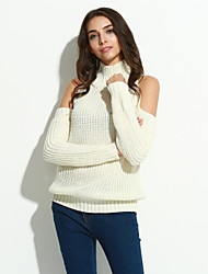 Women's Casual/Daily Street chic Long Pullover,Solid White Turtleneck Long Sleeve Polyester Winter Thin Micro-elastic