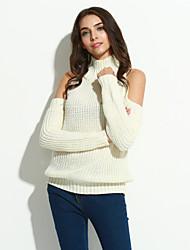 Long Pullover Femme Décontracté / Quotidien Chic de Rue,Couleur Pleine Blanc Col Roulé Manches Longues Polyester Hiver Fin