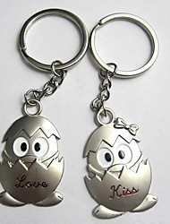 Stainless Steel Wedding Keychain Favors-2 Piece/Set Couples Keychains Beach Theme Non-personalised eggs Design Valentine's Day
