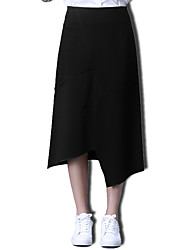 Women's A Line Solid Split Skirts,Going out / Casual/Daily Simple / Street chic Mid Rise Asymmetrical Zipper Cotton StretchySpring /