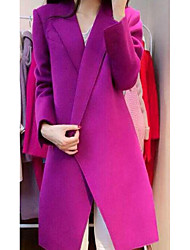 Women's Casual/Daily Simple Coat,Solid Long Sleeve Purple Polyester