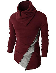 Men's Casual/Daily Formal Vintage Long Pullover,Solid Red Black Round Neck Long Sleeve Wool Winter Thick Stretchy