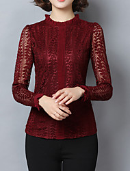 Feminino Camiseta Casual Simples Outono,Sólido Vermelho / Preto / Cinza / Verde Algodão Colarinho Chinês Manga Longa Média