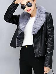 Damen Solide Einfach / Street Schick Ausgehen / Lässig/Alltäglich Lederjacken,Winter Hemdkragen Langarm Beige / Schwarz / Grau Dick PU