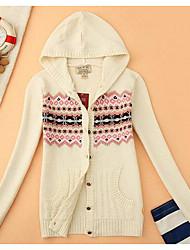 Women's Casual/Daily Simple Short Cardigan,Print Hooded Long Sleeves Acrylic Fall Winter Medium Micro-elastic