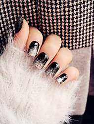24Pcs Super Bright Black Silver Glitter Nail High-End Paragraph Break Fake Nails In The Patch Of Long Nail Glue