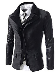 Men's Casual/Daily / Work Simple / Active Jackets,Color Block Shirt Collar Long Sleeve Summer / Fall Black / Gray Wool Medium
