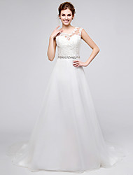 Princess Wedding Dress Court Train Jewel Organza with Appliques / Beading