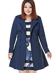 MsShe Women's Plus Size / Casual/Daily Simple Trench CoatSolid V Neck Long Sleeve Blue / Red Cotton / Polyester Medium