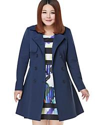 Trench Femme,Couleur Pleine Décontracté / Quotidien / Grandes Tailles simple Manches Longues Col en V Bleu / Rouge Coton / Polyester Moyen