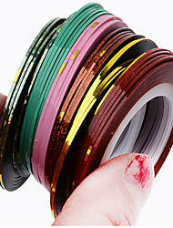 10 Pcs/Pack Mix Color Adhesive Tape Nail Art Stripes Nail Rolls Striping Tape Line Gold Silver Stripes Nails Decoration
